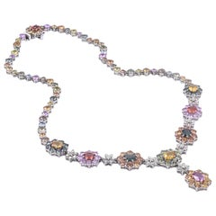 18 Karat White Gold Multicolored Sapphire and Diamond Floral Necklace