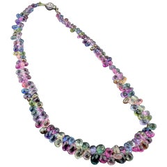 18 Karat White Gold Multicolored Sapphire briolette  Necklace