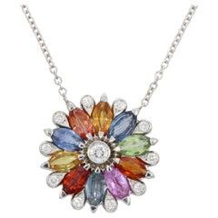 18 Karat White Gold Multicolored Sapphires Dalia Small Pendant by Niquesa