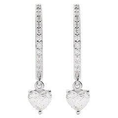 18 Karat White Gold Mye Heart Diamond Hoop Earrings