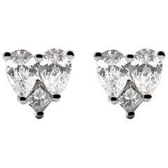 18 Karat White Gold Mye Heart Illusion Diamond Studs Earrings
