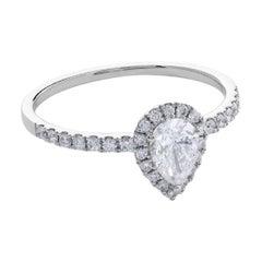 18 Karat White Gold Mye Pear Halo Diamond Ring