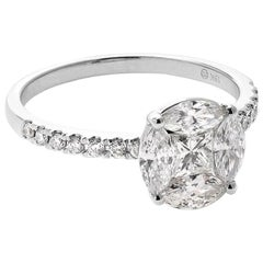 18 Karat White Gold Mye Round Illusion Diamond Ring