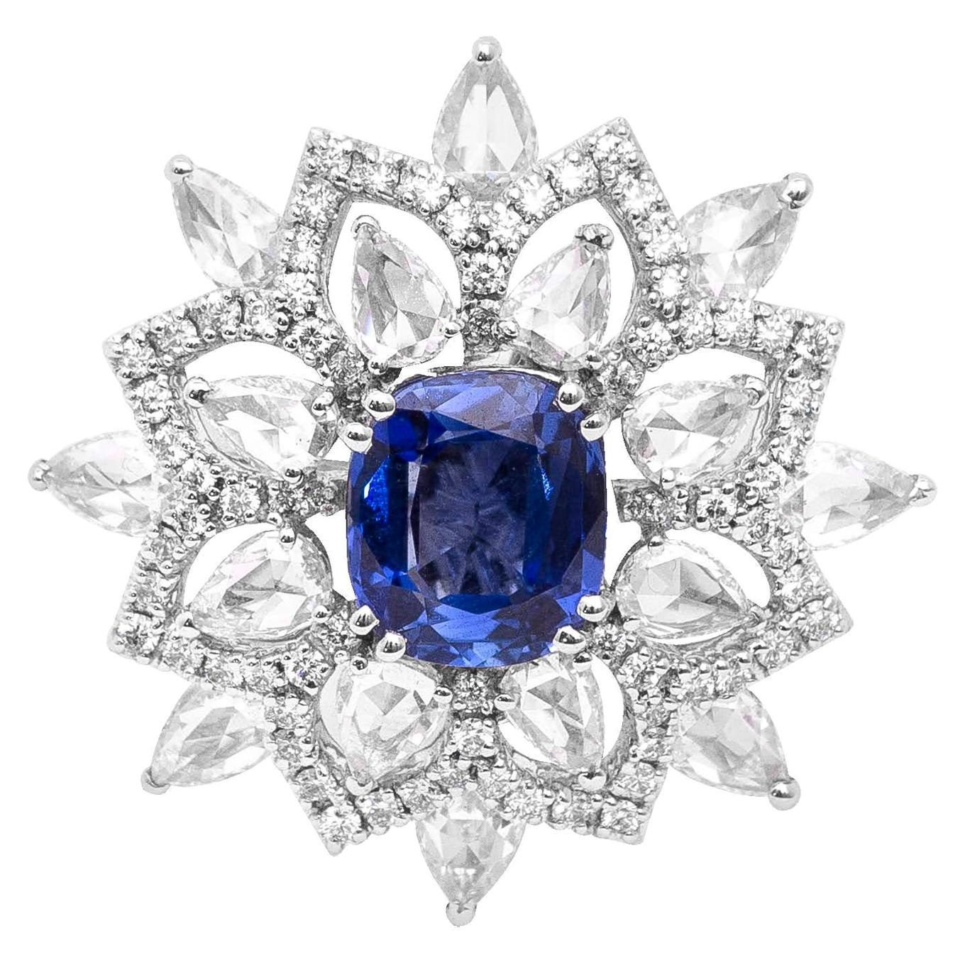 18 Karat White Gold Natural Blue Sapphire and Diamond Cocktail Ring