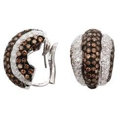 18 Karat White Gold Natural Brown and White Diamond Earrings