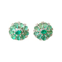 18 Karat White Gold, Natural Cut Oval & Carved Emerald and Diamond Stud Earrings