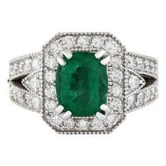 18 Karat White Gold Natural Deep Emerald Diamond Ring for Her