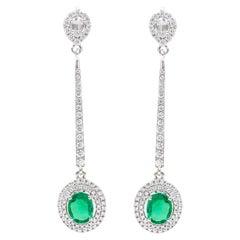 18 Karat White Gold Natural Emerald and Diamond Cluster Dangle Earrings