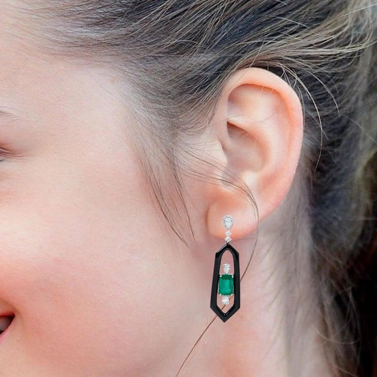 Emerald Cut 18 Karat White Gold Natural Emerald, Diamond, and Black Onyx Dangle Earrings For Sale
