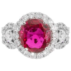 18 Karat White Gold Natural Heated Ruby and Diamond Cocktail Ring