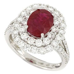 A Natural Ruby and Diamond Ring in 18 Karat White Gold