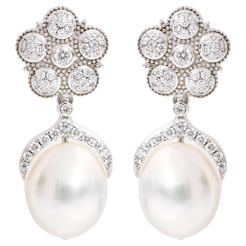 18 Karat White Gold Natural South Sea Pearl and Diamond Drop Earrings