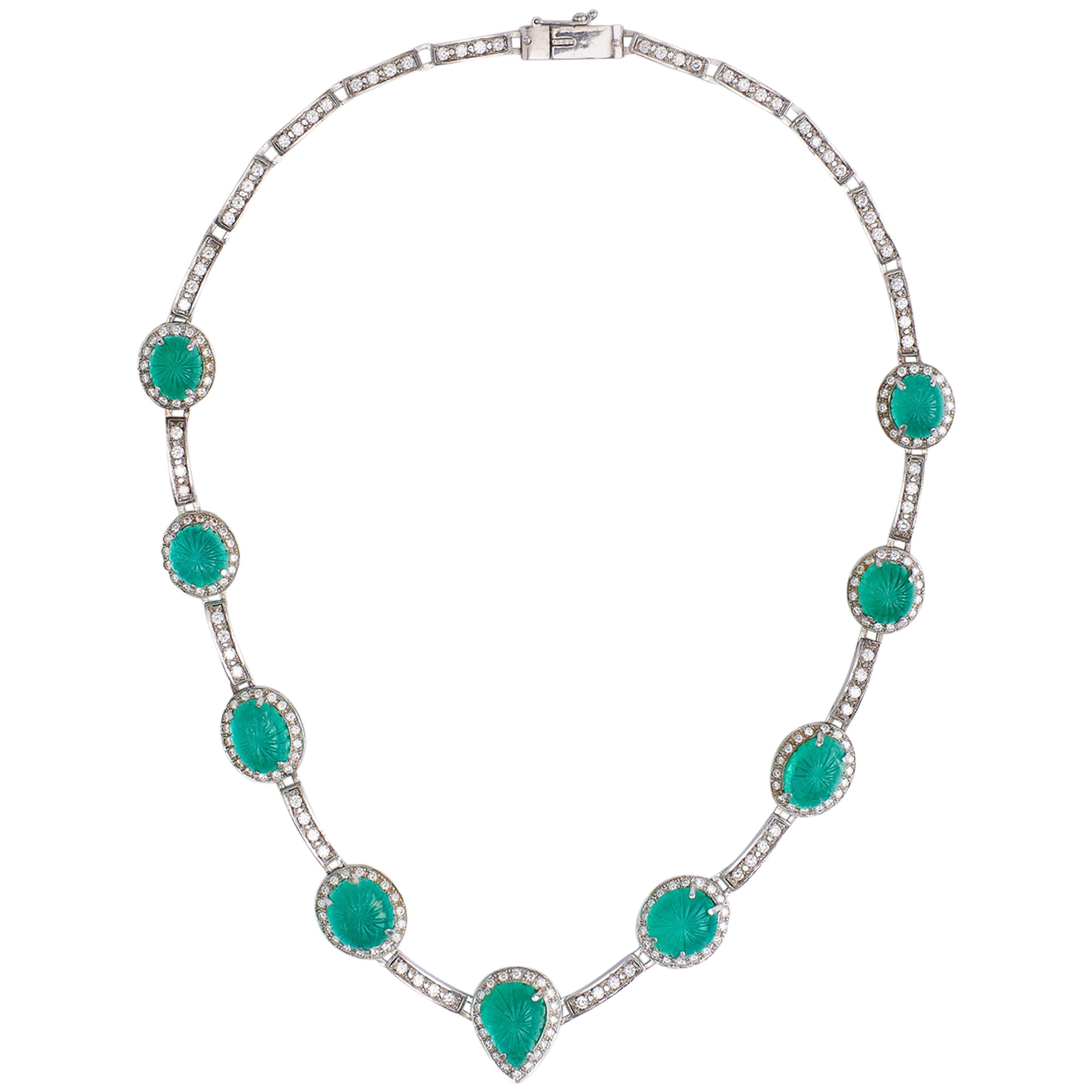 18 Karat White Gold Necklace with Emeralds and Diamonds Certified