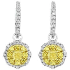 18 Karat White Gold Octagonal Yellow Diamond Drop Earrings