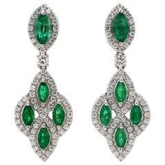 18 Karat White Gold Old Mine Emerald Diamond Cocktail Earring
