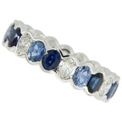 18 Karat White Gold Ombre' Blue Sapphire and Diamond Eternity Band
