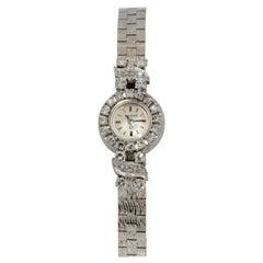 18 Karat Weißgold Omega Diamant Lünette Armbanduhr