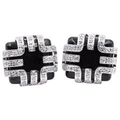 18 Karat White Gold Onyx and Diamond Cufflinks