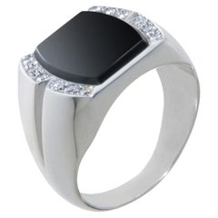 18 Karat White Gold, Onyx and Diamonds Art Deco Men/Women Signet Ring