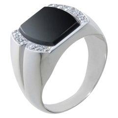 18 Karat White Gold, Onyx and Diamonds Art Deco Style Men/Women Signet Ring