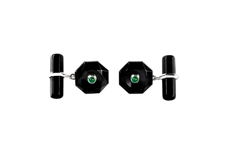 Women's or Men's 18 Karat White Gold Onyx and  Emeralds Octagonal Cufflinks For Sale