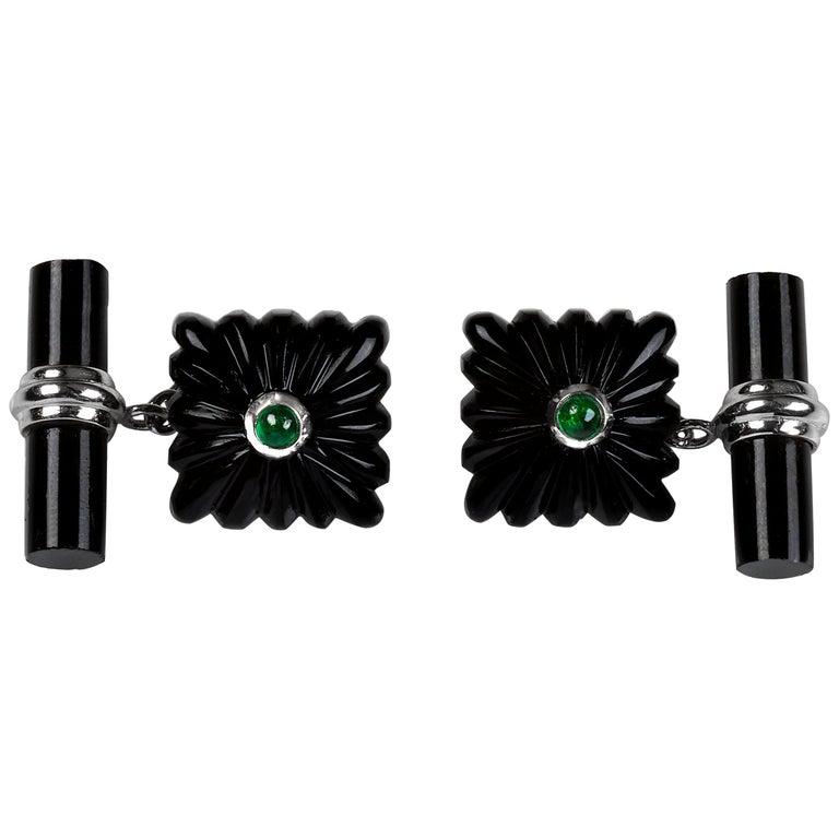 18 Karat White Gold Onyx Emeralds Carved Squared Cufflinks For Sale