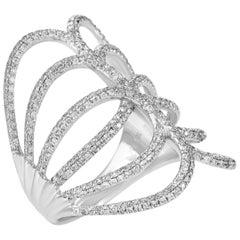 18 Karat White Gold Openwork Diamond Band Ring