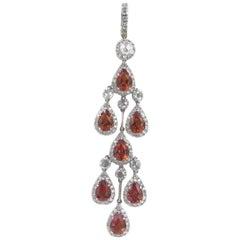 18 Karat White Gold Orange Sapphire and Diamond Chandelier Pendant
