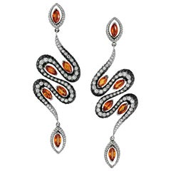 18 Karat White Gold Orange Sapphire and Diamond Signature Earrings by Niquesa