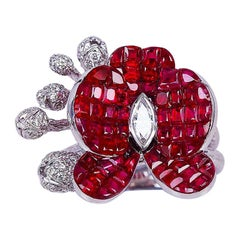 18 Karat White Gold Orchid Flower Invisible Ruby Ring