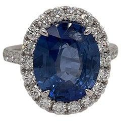 18 Karat White Gold Oval Ceylon Sapphire & Diamond Ring 6.70 Carats