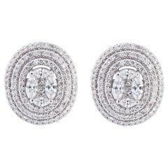 18 Karat White Gold Oval Cluster Diamond Earrings