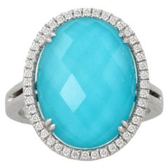 18 Karat White Gold Oval Cocktail Ring with White Topaz, Turquoise and Diamonds
