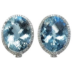 18 Karat White Gold Oval Cut Aquamarine and Diamond Earrings