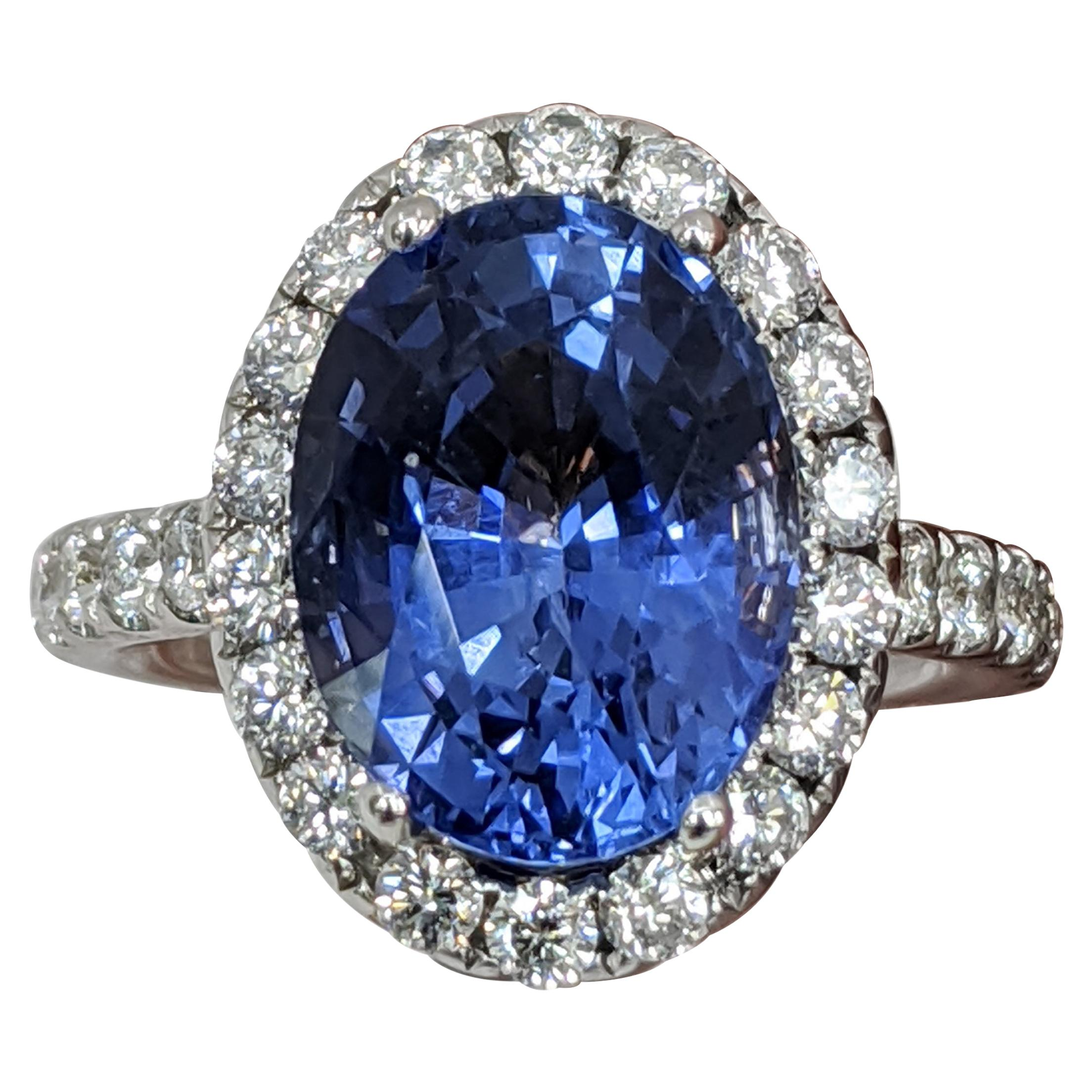 18 Karat White Gold Oval Cut Blue Sapphire and Diamond Ring