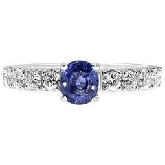 18 Karat White Gold Oval Cut Ceylon Blue Sapphire and Diamonds Engagement Ring
