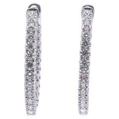 18 Karat White Gold Oval Diamond Inside Outside Hoop Earrings