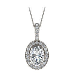 18 Karat White Gold Oval Halo Diamond '3/4 Carat'
