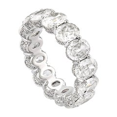 Rarever 18K White Gold Oval Old Cut Diamond 6.64cts Eternity Ring