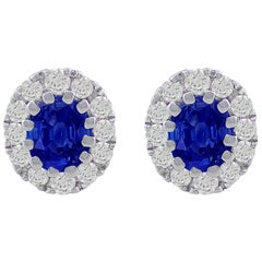 CJ Charles 18 Karat White Gold Oval Sapphire Stud Earrings