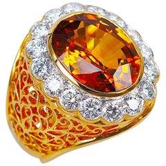 18 Karat White Gold Oval Yellow Sapphire and Diamond Ring
