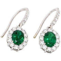 18 Karat White Gold Oval Zambian Emerald Diamond Cocktail Earring