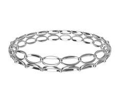 18 Karat White Gold Ovals and Rhombus Bangle Bracelet