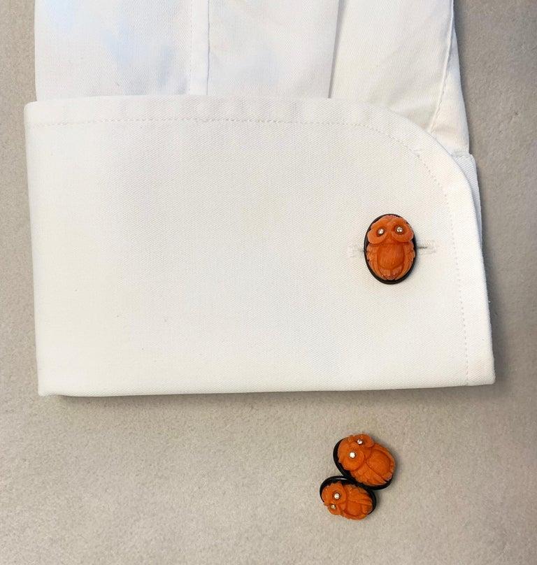 18 Karat White Gold Owl in Mediterranean Coral Onyx Diamonds Cufflinks For Sale 1