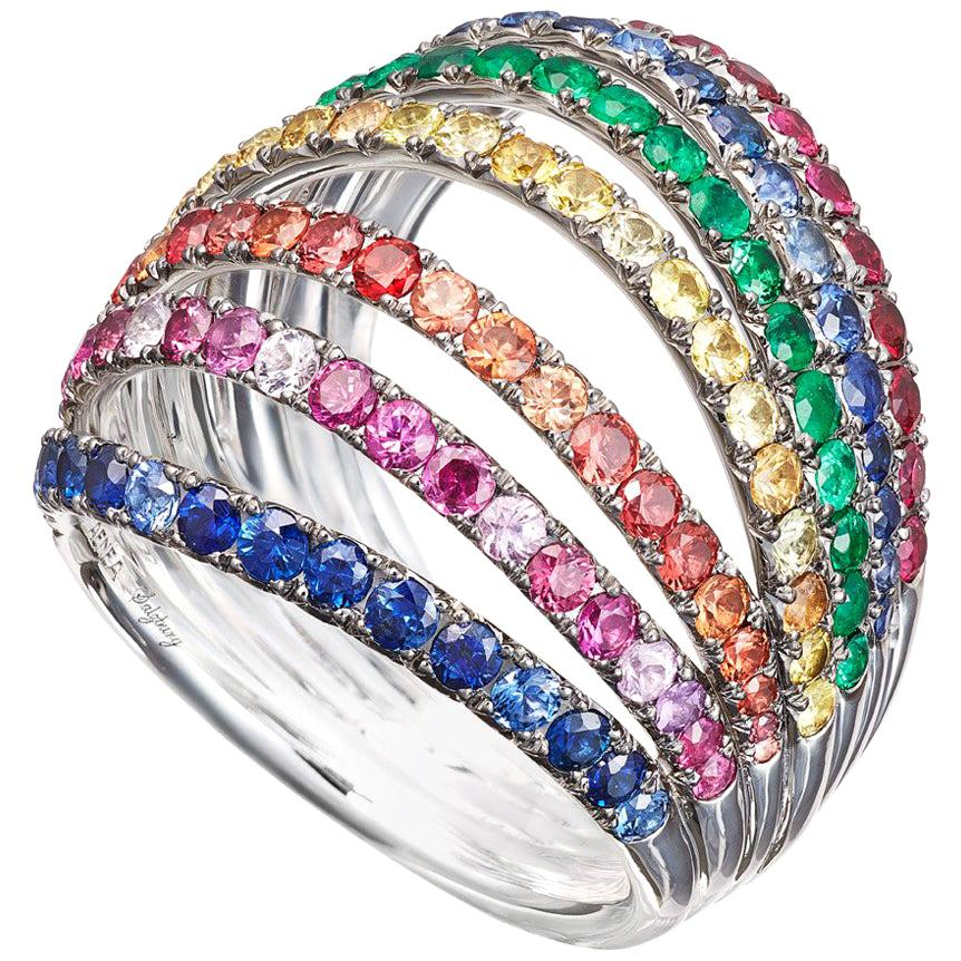 18 Karat White Gold Palladium Blue Pink Yellow Sapphires Ring Aenea