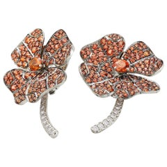 AENEA 18k White Gold Palladium Orange Sapphire White Diamonds Flower Earrings