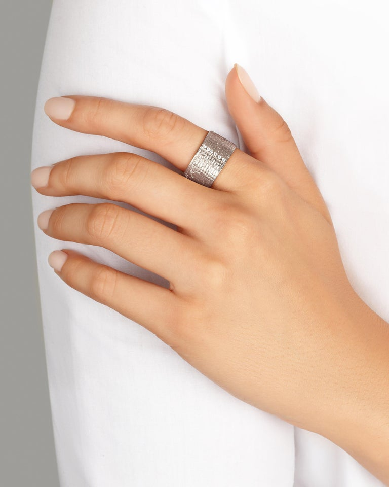 Round Cut 18 Karat White Gold Paper Cigar Ring with Diamonds by Allison Bryan For Sale