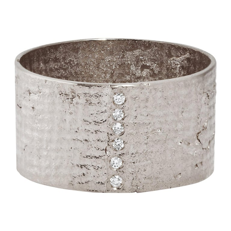 18 Karat White Gold Paper Cigar Ring with Diamonds by Allison Bryan For Sale