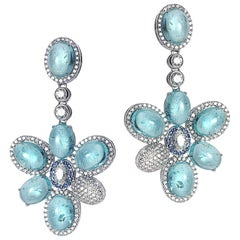 18 Karat White Gold Paraiba and Diamond Drop Earrings
