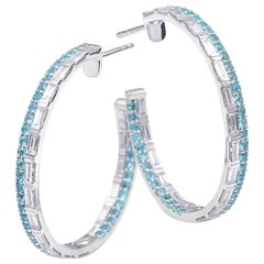 18 Karat White Gold Paraiba and Diamond Hoop Earrings